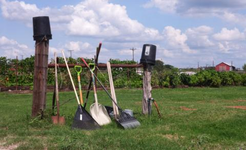 A rack of tools at Zoho's Austin campus farm