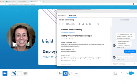 Salesforce Meetings screenshot of composite video image plus pop-out meeting notes
