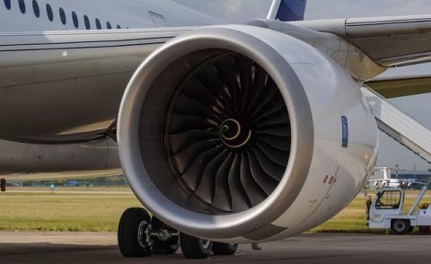 Image of a Rolls Royce engineer on an Airbus plane