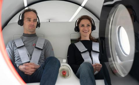 An image of passengers sitting in Hyperloop
