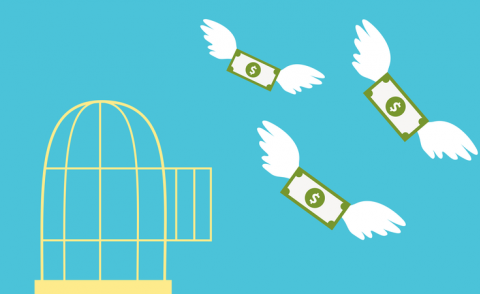 Open cage with flying money business concept © Marharyta Pavliuk - Shutterstock