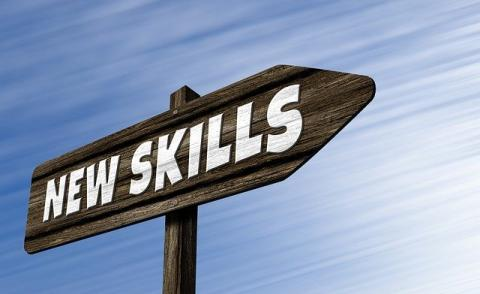 Image of a signpost with the words 'new skills' on it